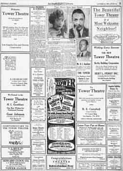 Preview of the theatre's opening night, surrounded by congratulatory adverts, as printed in the 12th October 1927 edition of the <i>Los Angeles Times</i> (6MB PDF)