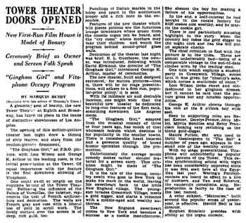 Review of the theatre's opening night, as printed in the 14th October 1927 edition of the <i>Los Angeles Times</i> (1MB PDF)
