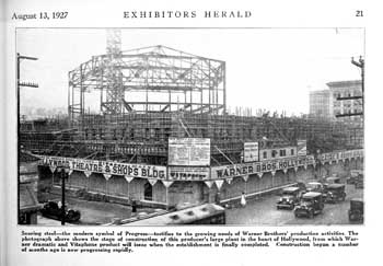 "Construction photo as featured in the 13th August 1927 edition of ""Exhibitors Herald"", held by Museum of Modern Art Library in New York and scanned online by the Internet Archive (JPG)"
