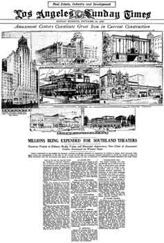 "<i>""Amusement Centers Constitute Great Item in Current Construction""</i>, an article in the 18th December 1927 edition of the <i>Los Angeles Times</i> which features the Warner Brothers Hollywood Theatre, among others (400KB PDF)"
