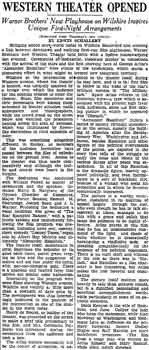 Review of opening night from the 9th October 1931 edition of the <i>Los Angeles Times</i> (500KB PDF)